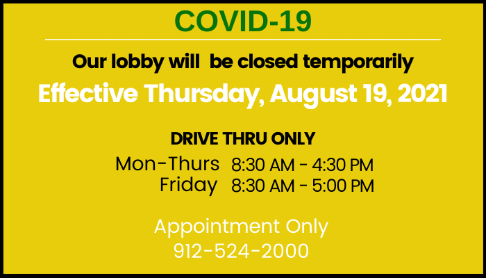 Lobby closed 2021 COVID19 page on website